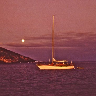 Anchored off Isla Socorro, Mexico, on our way to the Marquesas, April 1983 (Only 2450 miles and 17 days to go!).