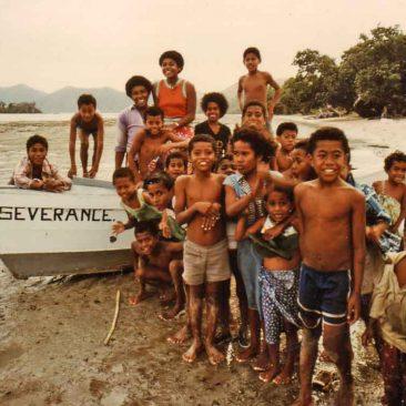 Not-so-shy Fijian kids of Totoya Island, Eastern Lau Group, Fij