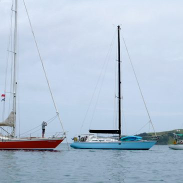 3 sister ships finally anchored together: Cheyenne (red), Tequila (aqua blue), and Shanachie (white)