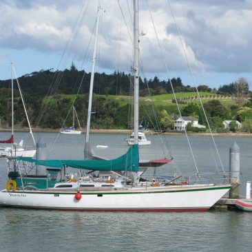 Shanachie at Ashby's Boatyard dock, Opua Marina