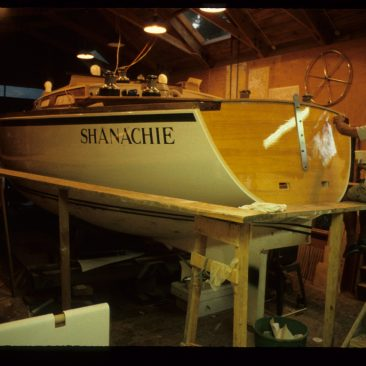 Shanachie, just about ready to roll as Jimmy Raun Byberg finishes the clear stern