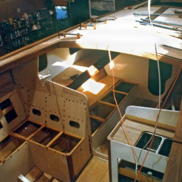 Interior beginnings, with partial views of settee and galley sink area