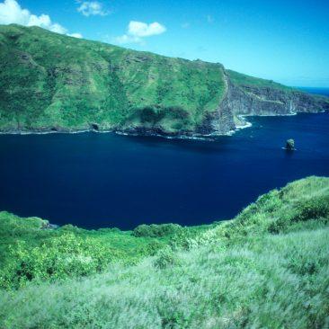 Shanachie anchored between friends Morning Star and Kate (also from Santa Cruz) in beautiful Hanaipa Bay, Hiva Oa.