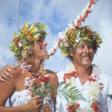 Joe and Nancy tie the knot in a wedding ceremony aboard Shanachie while anchored at Fare, Huahine, April 1, 1984, known as Poisson d'Avril (April Fish—or Fools' Day!). It was officially recorded June 9th at Fare's City Hall after a second, civil ceremony performed by the mayor once their birth certificates were translated into French.