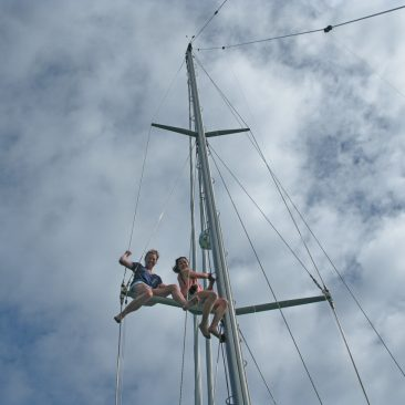 Kali and her friend, Lydia, climb (and later jump from) the mast
