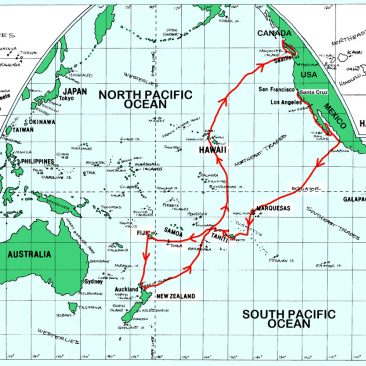 Shanachie's original sailing route, hand-sketched