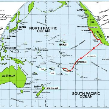 Shanachie's sailing route showing many legs from 2004-2007
