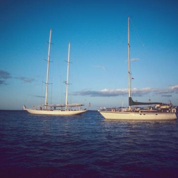 Shanachie anchored next to our friends on the 123-foot J-Boat, Cambria, at Malolo Lailai, Fiji