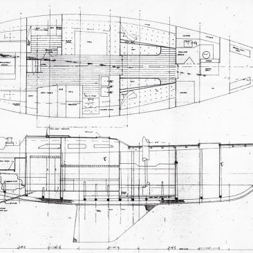 "Paul Whiting's original ""construction/arrangement plans"" for a ""cruising racing sloop"""