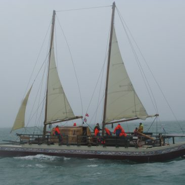 The Hine Moana, the 7th traditional waka authentically recreated at Auckland's Salthouse Boatbuilders from ancient Polynesian designs, emerging from the mist in front of us the day after celebrating Waitangi Day—quite the surprising sight!